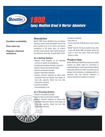 Epoxy Modified Grout & Mortar Admixture - Bostik, Inc