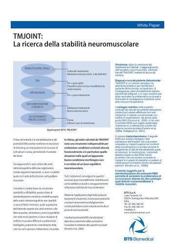 TMJOINT: La ricerca della stabilità neuromuscolare - Bts.i