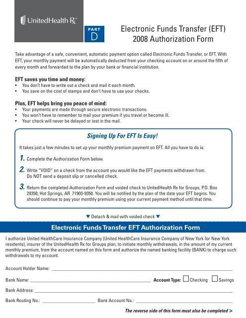 Electronic Funds Transfer Eft 2008 Authorization Form