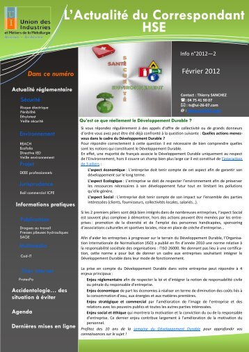 Lire le bulletin hygiène et sécurité n° 2-2012