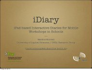 iPad-based Interactive Diaries for Mobile Workshops in Schools ---