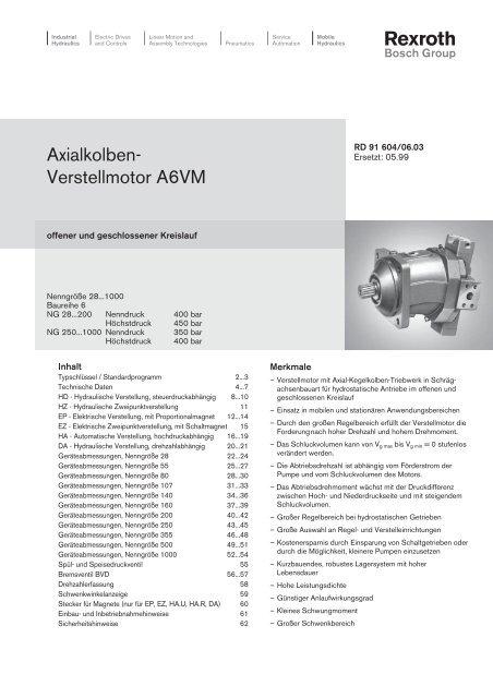 Axialkolben- Verstellmotor A6VM - Group VH A/S