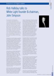 Rob Halliday talks to White Light founder & chairman, John Simpson