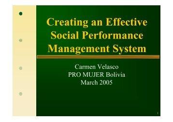 Creating an Effective Social Performance Management ... - Cerise