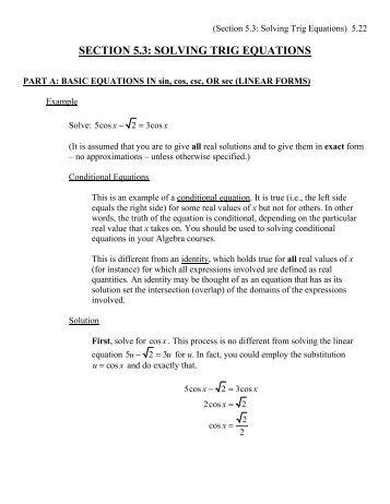 Solving Trig Equations Worksheet 2 - YouTube