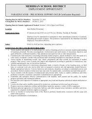 Paraeducator - Pre-School Support - Meridian School District
