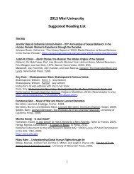 2013 Mini University Suggested Reading List - Indiana University ...
