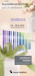 Ausstellerverzeichnis List of exhibitors - Tendence - Messe Frankfurt