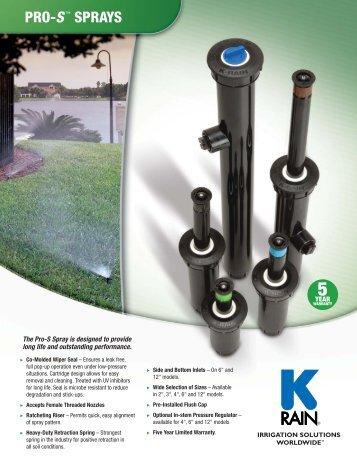 Pro S Sprays Product Specifications - K-Rain