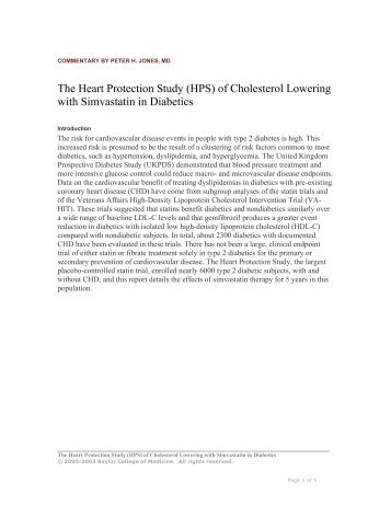 The Heart Protection Study (HPS) of Cholesterol ... - Lipids Online
