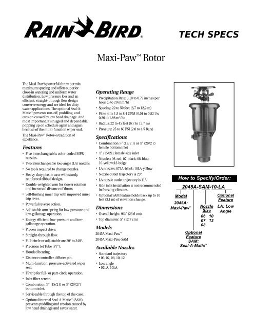 Rain Bird Maxi Paw Rotor Sprinkler Owner S Manual