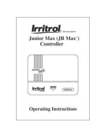 Irritrol systems junior max Manual
