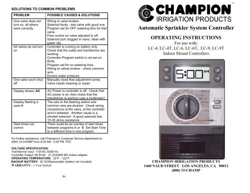 Champion LC4 LC4T LC6 LC6T LC9 LC9T ... - Irrigation DirectYumpu