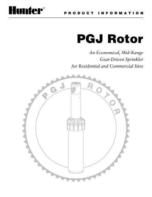 Hunter PGJ Troubleshooting Guide And Product