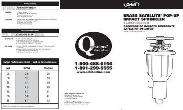 Orbit 55034 Brass Satelite Pop-Up Impact Sprinkler ... - Irrigation Direct