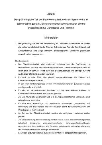 Ziele LAP - Lokaler Aktionsplan Landkreis Spree-Neisse