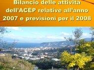 Bilancio Attività ACEP 2007 e previsioni 2008 - fareonline.it