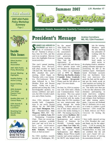 President's Message Andrea Carrothers - Colorado Dietetic ...