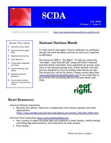SCDA Spring Newsletter 09 - Colorado Dietetic Association