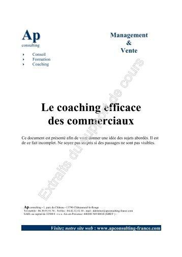 Extrait de la formation coaching des commerciaux - AP Consulting