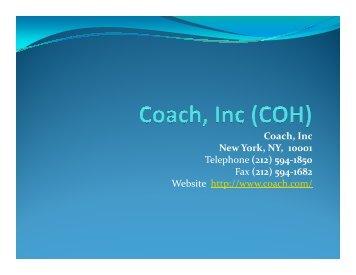 COH PresoCoach, Inc Coach, New York, NY, 10001 Telephone - Bivio