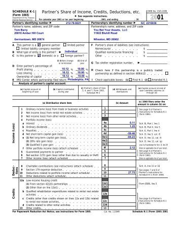2012 Partner's Instructions for Schedule K-1 (Form 1065)