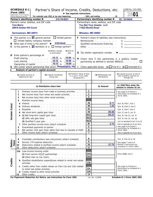 form 1065 rental income  100 Form 100 (Schedule K-10) - Bivio