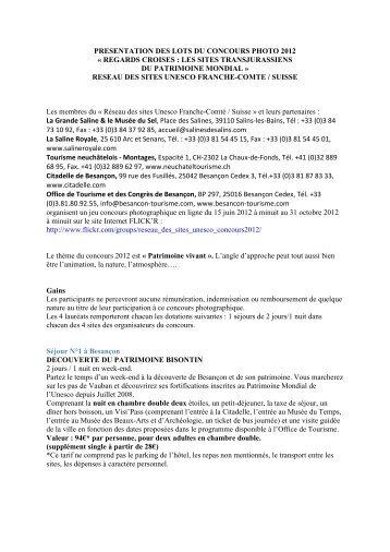 presentation des lots du concours photo 2012 - Grand Besançon
