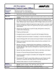 Job Description Maintenance Control Center Officer