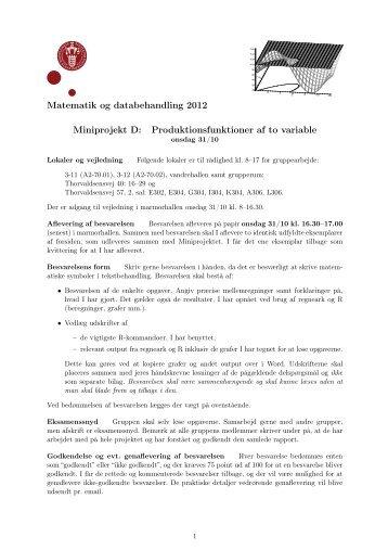 Matematik og databehandling 2012 Miniprojekt D ...