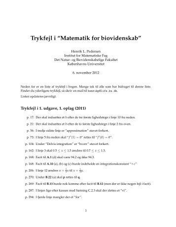 Trykfejl i matematikbogen - Københavns Universitet