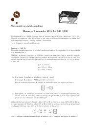 Matematik og databehandling Eksamen, 9. november 2011, kl. 8.30 ...