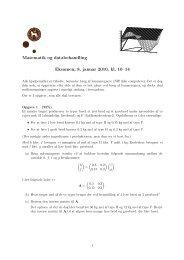 Matematik og databehandling Eksamen, 8. januar 2010, kl. 10–14