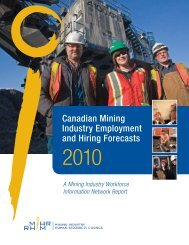 Canadian Mining Industry Employment and Hiring Forecasts - MiHR