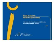 Mining for Diversity Research Report Summary p y - MiHR