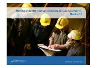 Mining Industry Human Resources Council (MiHR) Media Kit