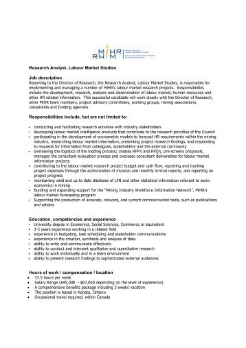 Research Analyst, Labour Market Studies Job Description ...   MiHR