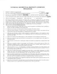 TENNESSEE RESIDENTIAL PROPERTY CONDITION