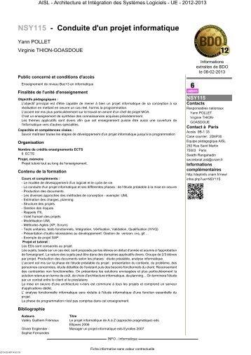 NSY115 - Conduite d'un projet informatique - Cnam