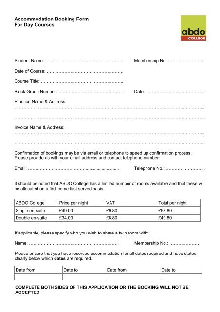 Accommodation Booking Form For Day Courses - ABDO College