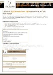 Questionnaire en ligne Full service - Nomination
