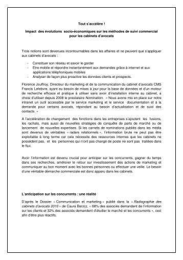 Impact des évolutions socio-économiques sur les ... - Nomination