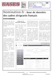Base de données des cadres dirigeants français - Nomination
