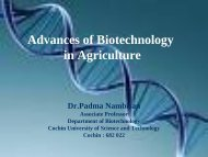 Advances of Biotechnology in Agriculture - (CUSAT) – Plant ...