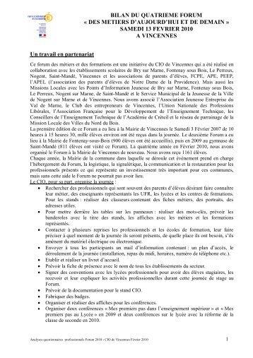 BILAN DU QUATRIEME FORUM Â« DES METIERS D'AUJOURD'HUI ET DE DEMAIN ...