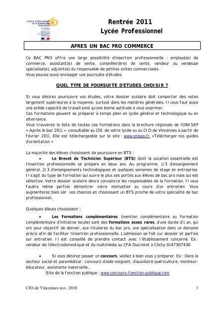 Aprã S Un Bac Pro Commerce Orientation