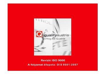 Revízió ISO 9000 A folyamat állapota: DI S 9001:2007 - Quality Austria