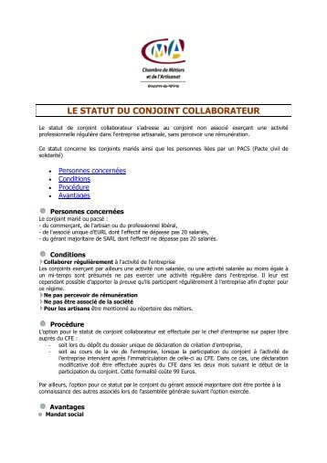 STATUT DU CONJOINT COLLABORATEUR