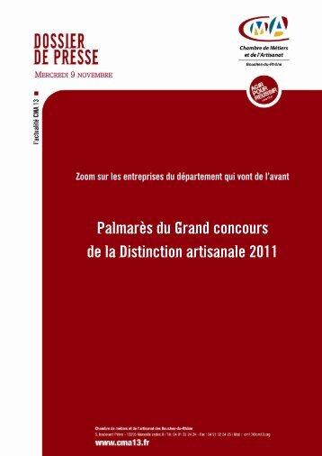 Palmarès du Grand concours de la Distinction artisanale 2011