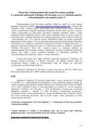 Stanovisko úradu k vyjadreniu spoločnosti Telefonica Slovakia, s.r.o.